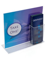 Clear Sign Holder with Brochure Holder