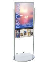 Silver 22 x 28 Movable Poster Stand with 5 Literature Compartments for Visuals