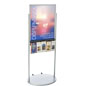 Silver 22 x 28 Movable Poster Stand with 5 Literature Compartments, Wheeled