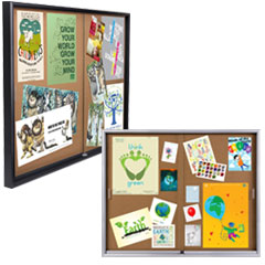Sliding glass door cork boards