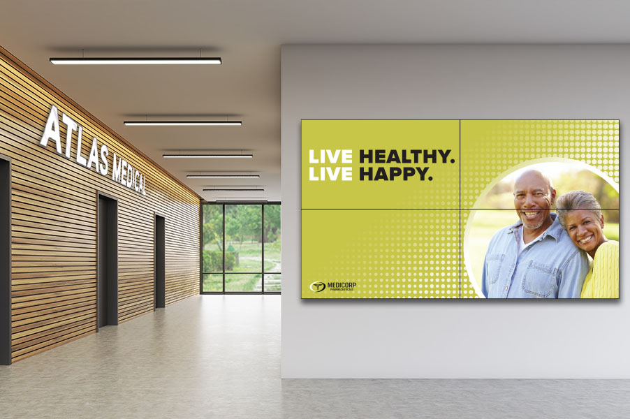 4-Screen Video Wall Bundle for Medical Waiting Room
