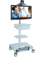 Hospital Computer Cart with White Finish