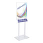 Clear Poster Stand with Business Card Pockets with Silver Hardware