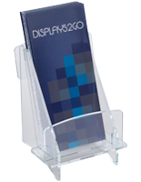 "Clear Acrylic Brochure Tray with 4"" Wide Pockets"