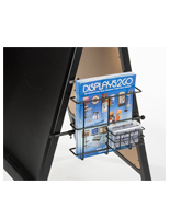Black A-Frame Literature Pocket With Business Card Holder For Sidewalk Displays