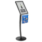 "11"" x 17"" Black Sign Stand with Magazine Pocket for Floor Display"