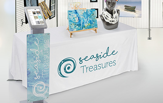 White table cover with 1-color dye-sublimated printing
