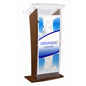 "Mahogany Podium with Custom Sign, 15"" Top Surface Depth"
