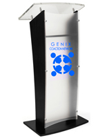 Black Custom Front Speaking Stand