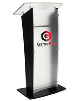 Black Printed Front Speaking Stand