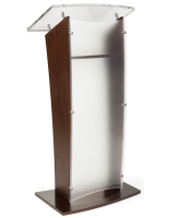 Elegant Frosted Acrylic and Wood Podium