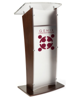 Elegant Acrylic and Wood Podium with 1-Color Logo
