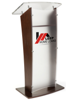Elegant Acrylic and Wood Podium with 2-Color Logo