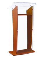 Clear Front Maple Wood Public Speaking Stand
