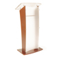 Frosted Acrylic Front Panel Wood Rostrum Podium