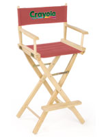 tall director style red fabric rubberwood frame