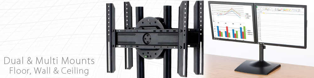floor, ceiling and wall multi monitor mounts