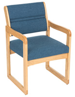 Blue Waiting Room Chair, Light Oak Finish