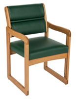 Green Wooden Lobby Chair, Weighs 28 lbs