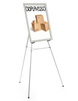"Silver Easel Stand with 22"" x 28"" Snap Frame with Protective Plastic Lens"