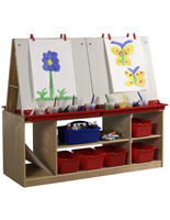 Children's 4 Station Art Easel with Storage & Open Shelves