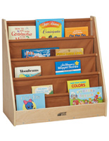 Children's Fabric Book Display with Brown Canvas