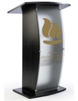 Black Lectern with Personalized Graphic and Wood Veneer Finish