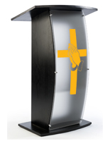 Black Pulpit with Praying Hands Cross Graphic and Frosted Acrylic