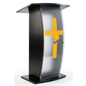 Black Pulpit with Praying Hands Cross Logo