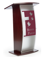 Red Mahogany Pulpit with Made-to-Order Logo