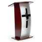 Mahogany Pulpit with Prayer Hands Cross Graphic