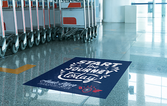 Custom printed floor decals are repositionable and offer non-slip performance