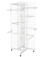 "Contemporary 4-Sided White Gridwall Stand w/ 10 ""C"" Hangers"