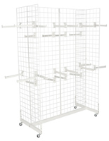 "White Gridwall ""H"" Stand w/ 25 Faceouts for Hanging Products"