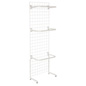 "White Gridwall ""L"" Stand w/ 10 ""C"" Hangers with Floor Bumpers"