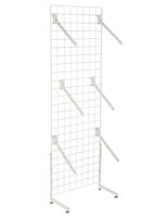"White Gridwall ""L"" Stand w/ 25 Waterfall Faceouts, 74"" Tall"