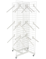 "4-Sided White Gridwall Stand w/ 25 Waterfall Faceouts, 16"" Long Pegs"