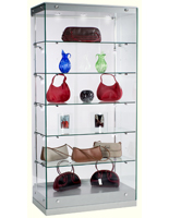 Modern LED Display Case with Silver Base and Canopy