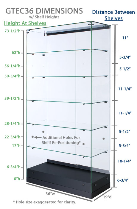 Black Display Case Glass Showcase With 5 Shelves