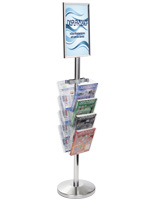 17 X 11 Stanchion Sign with Literature Rack for Retail Stores