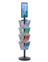 "11"" x 17"" Sign Post with 8 Clear Literature Pockets, Weighs 27.5 lbs"