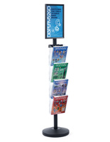 "11"" x 17"" Sign Post with 4 Clear Literature Pockets, Floorstanding"