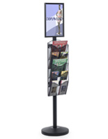 "11"" x 17"" Sign Post with 5 Mesh Literature Pockets, Black"