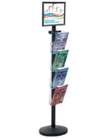 "17"" x 11"" Sign Post with 4 Clear Literature Pockets, Top Loading Insert"