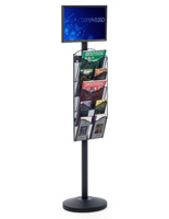 "17"" x 11"" Sign Post with 5 Mesh Literature Pockets, Top Insert Design"