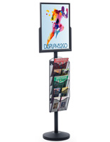 "18"" x 24"" Sign Post with 5 Mesh Literature Pockets, 69"" Tall"