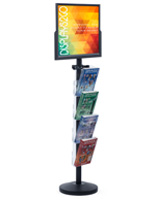 "24"" x 18"" Sign Post with 4 Clear Literature Pockets, Double Sided"