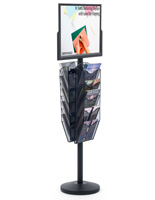 "24"" x 18"" Sign Post with 10 Mesh Literature Pockets, Top Insert"