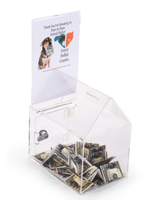 House Shaped Donation Box with Sign Holder, Lock, 2 Money Slots