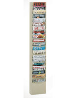 Hanging literature rack with putty finish